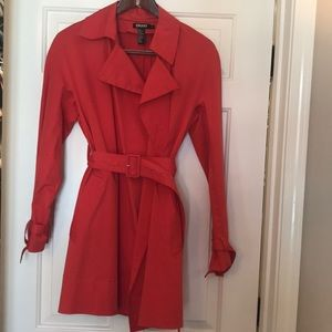 Belted light red DKNY rain coat